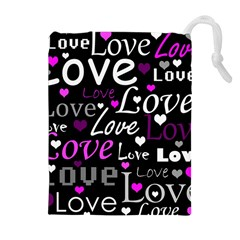 Valentine s day pattern - purple Drawstring Pouches (Extra Large)