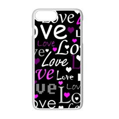 Valentine s day pattern - purple Apple iPhone 7 Plus White Seamless Case