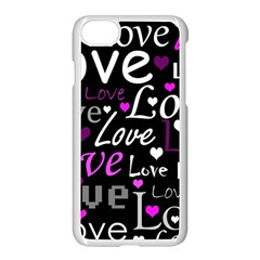 Valentine s day pattern - purple Apple iPhone 7 Seamless Case (White)