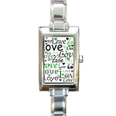 Green  Valentine s day pattern Rectangle Italian Charm Watch