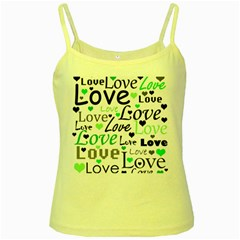Green  Valentine s day pattern Yellow Spaghetti Tank
