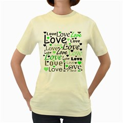 Green  Valentine s day pattern Women s Yellow T-Shirt