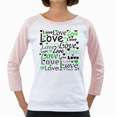Green  Valentine s day pattern Girly Raglans