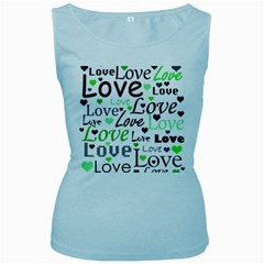 Green  Valentine s day pattern Women s Baby Blue Tank Top