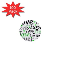 Green  Valentine s day pattern 1  Mini Buttons (100 pack)