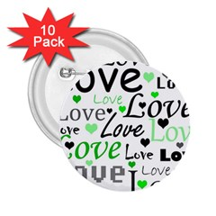 Green  Valentine s day pattern 2.25  Buttons (10 pack)