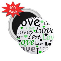 Green  Valentine s day pattern 2.25  Magnets (100 pack)