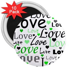 Green  Valentine s day pattern 3  Magnets (10 pack)