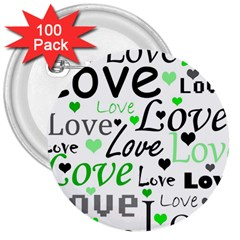 Green  Valentine s day pattern 3  Buttons (100 pack)
