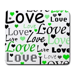 Green  Valentine s day pattern Large Mousepads