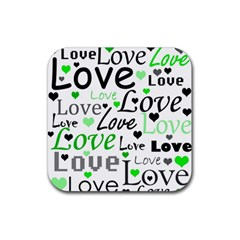 Green  Valentine s day pattern Rubber Square Coaster (4 pack)