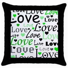 Green  Valentine s day pattern Throw Pillow Case (Black)