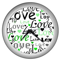 Green  Valentine s day pattern Wall Clocks (Silver)