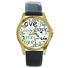 Green  Valentine s day pattern Round Gold Metal Watch
