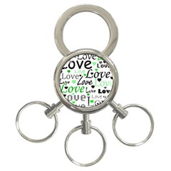 Green  Valentine s day pattern 3-Ring Key Chains