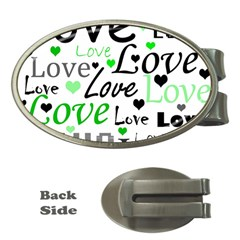 Green  Valentine s day pattern Money Clips (Oval)