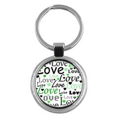 Green  Valentine s day pattern Key Chains (Round)