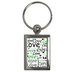 Green  Valentine s day pattern Key Chains (Rectangle)
