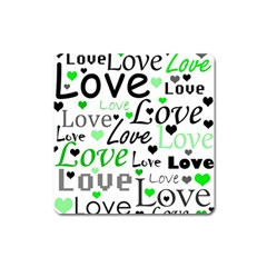 Green  Valentine s day pattern Square Magnet
