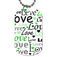 Green  Valentine s day pattern Dog Tag (Two Sides)