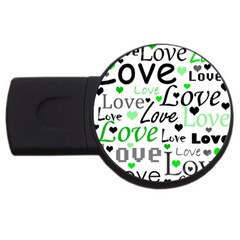 Green  Valentine s day pattern USB Flash Drive Round (1 GB)