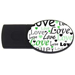 Green  Valentine s day pattern USB Flash Drive Oval (2 GB)