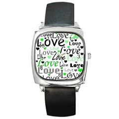 Green  Valentine s day pattern Square Metal Watch