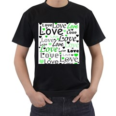 Green  Valentine s day pattern Men s T-Shirt (Black) (Two Sided)