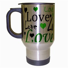 Green  Valentine s day pattern Travel Mug (Silver Gray)