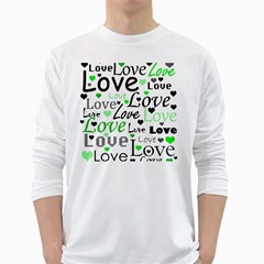 Green  Valentine s day pattern White Long Sleeve T-Shirts