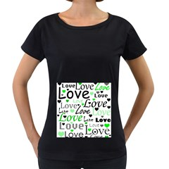 Green  Valentine s day pattern Women s Loose-Fit T-Shirt (Black)