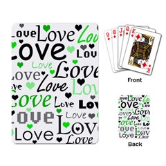 Green  Valentine s day pattern Playing Card