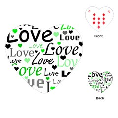 Green  Valentine s day pattern Playing Cards (Heart)