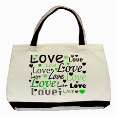 Green  Valentine s day pattern Basic Tote Bag