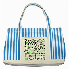 Green  Valentine s day pattern Striped Blue Tote Bag