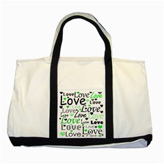 Green  Valentine s day pattern Two Tone Tote Bag