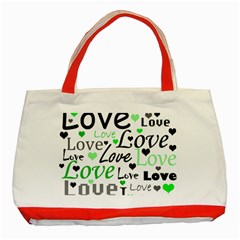 Green  Valentine s day pattern Classic Tote Bag (Red)