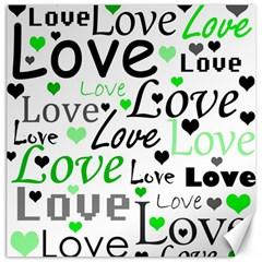 Green  Valentine s day pattern Canvas 12  x 12