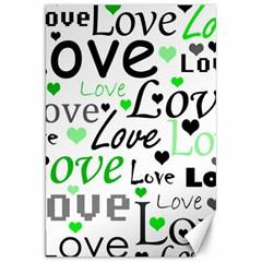 Green  Valentine s day pattern Canvas 20  x 30
