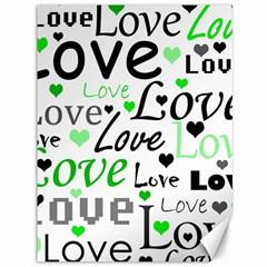 Green  Valentine s day pattern Canvas 36  x 48
