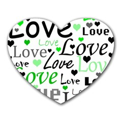 Green  Valentine s day pattern Heart Mousepads