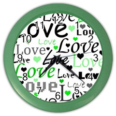 Green  Valentine s day pattern Color Wall Clocks