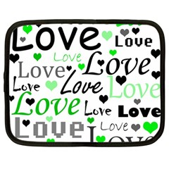 Green  Valentine s day pattern Netbook Case (Large)