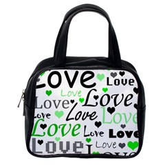 Green  Valentine s day pattern Classic Handbags (One Side)