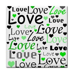 Green  Valentine s day pattern Face Towel