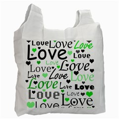 Green  Valentine s day pattern Recycle Bag (One Side)