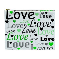 Green  Valentine s day pattern Cosmetic Bag (XL)