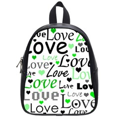 Green  Valentine s day pattern School Bags (Small)