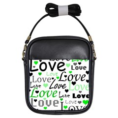 Green  Valentine s day pattern Girls Sling Bags