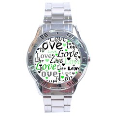 Green  Valentine s day pattern Stainless Steel Analogue Watch